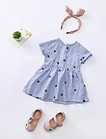Недорогие -Дети Девочки Полоски Геометрический принт С короткими рукавами Платье