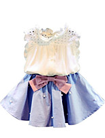 cheap -Girls' Daily Solid Colored Clothing Set, Rayon Polyester Summer Sleeveless Basic Light Blue