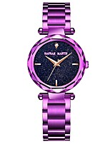 cheap -Women's Bracelet Watch Japanese Chronograph / Large Dial Stainless Steel Band Luxury / Sparkle Gold / Purple