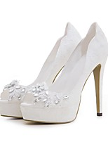 cheap -Women's Shoes Lace Spring Summer Slingback Wedding Shoes Platform Peep Toe Rhinestone for Wedding Party & Evening White