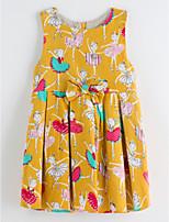 cheap -Girl's Daily Print Dress Summer Sleeveless Cute Basic Yellow