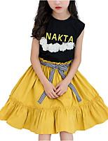 baratos -Menina de Vestido Diário Estampa Colorida Verão Poliéster Sem Manga Fofo Preto