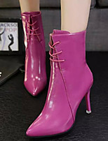 cheap -Women's Shoes PU Fall Winter Fashion Boots Boots Stiletto Heel Mid-Calf Boots for Black Gray Fuchsia