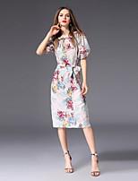 cheap -FRMZ Women's Cute Lantern Sleeve Slim A Line Dress - Floral Print