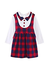 cheap -Girl's Daily Holiday Plaid Dress, Cotton Polyester Spring Fall Long Sleeves Cute Active Red Blushing Pink