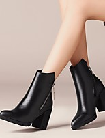 cheap -Women's Shoes Cowhide Fall Winter Combat Boots Boots Chunky Heel Pointed Toe Booties / Ankle Boots for Outdoor Black