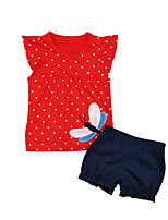 cheap -Girls' Going out Holiday Polka Dot Print Clothing Set, Cotton Acrylic Spring Summer Short Sleeves Cute Active Red