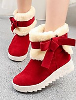 cheap -Women's Shoes Fleece Fall Winter Snow Boots Boots Flat Heel Round Toe Booties / Ankle Boots Bowknot for Black Red Khaki