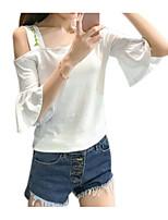 preiswerte -Damen Solide - Grundlegend T-shirt Druck