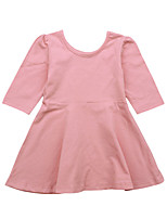 cheap -Girl's Daily Holiday Solid Colored Dress, Cotton Spring Summer Long Sleeves Vintage Basic Black Blushing Pink