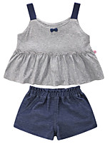 cheap -Girls' Daily Holiday Patchwork Clothing Set, Cotton Polyester Summer Sleeveless Cute Gray
