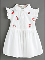 cheap -Girl's Daily Jacquard Dress Summer Short Sleeves Cute Basic White