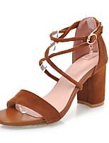 preiswerte -Damen Schuhe Nubukleder Frühling / Sommer Fersenriemen High Heels Blockabsatz Schwarz / Beige / Braun