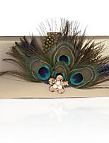 preiswerte -Damen Taschen Stoff Abendtasche Federn / Pelzl für Hochzeit / Veranstaltung / Fest Silber / Rote / Purpur