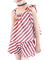 cheap -Girls' Daily Striped Clothing Set, Cotton Spring Summer Sleeveless Cute Red