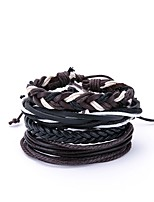 cheap -Men's Leather Oversized 4pcs Wrap Bracelet - Vintage Oversized Irregular Black Bracelet For Daily Going out