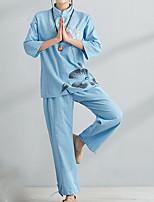 Недорогие -Жен. Шинуазери (китайский стиль) Набор Брюки - С принтом, Однотонный Цветочный принт