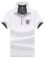 cheap -Men's Basic Polo - Color Block, Print Embroidered