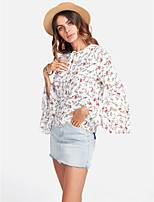 cheap -Women's Going out Cute Blouse - Floral Crew Neck
