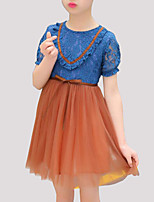 cheap -Girl's Daily Patchwork Dress, Rayon Polyester Summer Short Sleeves Cute Blue Blushing Pink