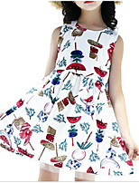cheap -Girl's Daily Going out Solid Colored Print Dress, Cotton Polyester Summer Sleeveless Cute Active White