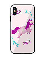 economico -Custodia Per Apple iPhone X iPhone 8 Fantasia/disegno Per retro Unicorno Resistente Vetro temperato per iPhone X iPhone 8 Plus iPhone 8