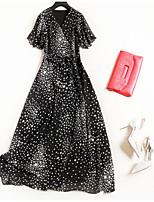 cheap -Women's Basic / Street chic A Line / Swing Dress Ruffle High Waist Maxi V Neck