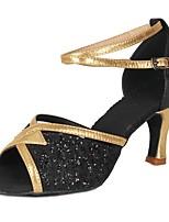 cheap -Women's Latin Shoes Paillette / Leatherette Heel Party / Training Sequin / Buckle Cuban Heel Customizable Dance Shoes Black
