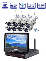 abordables -strongshine® tout-en-un 10.1inch lcd sans fil nvr kits 8ch 960p hd wifi extérieur caméra ip