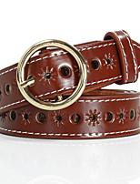 cheap -Women's Active Basic Leather Alloy Waist Belt Cut Out