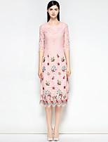 Недорогие -Жен. Очаровательный Тонкие А-силуэт Платье - Цветочный принт Средней длины