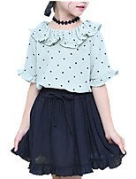 cheap -Girls' Daily Polka Dot Clothing Set, Polyester Spring Summer Short Sleeves Cute Green Blushing Pink