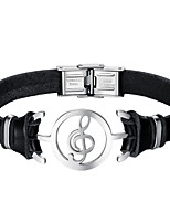 cheap -Men's Stainless Steel Leather Music Notes 1pc Leather Bracelet - Fashion Black Bracelet For Daily