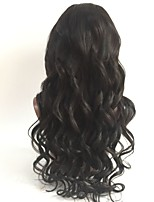 cheap -Virgin Human Hair Full Lace Wig Peruvian Hair Wavy Layered Haircut 130% Density With Baby Hair / For Black Women Black Short / Long / Mid