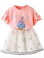 Недорогие -Девочки Повседневные С принтом Набор одежды, Искусственный шёлк Полиэстер Лето Рукав до локтя Классический Розовый
