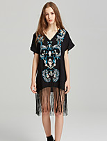 cheap -SHE IN SUN Women's Basic Boho Shift Dress - Geometric Tassel