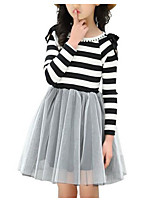 cheap -Girl's Daily Striped Dress, Polyester Spring Long Sleeves Basic Black