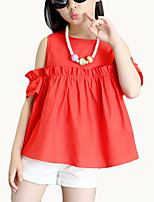 cheap -Girls' Daily Solid Colored Clothing Set, Cotton Polyester Summer Short Sleeves Street chic Red Yellow