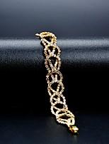 cheap -Women's Cubic Zirconia Rhinestone Flower 1pc Chain Bracelet - Classic Vintage Elegant Circle Gold Bracelet For Wedding Evening Party