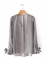 baratos -Mulheres Blusa Básico Listrado