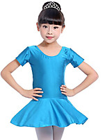 cheap -Ballet Dresses Girls' Training Performance Spandex Ruching Short Sleeves Natural Dress
