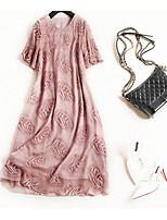 cheap -Women's Vintage Street chic T Shirt Swing Dress - Floral Embroidered