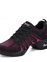 cheap -Women's Dance Sneakers Knit Sneaker Outdoor Low Heel White Black Fuchsia Black/Red 1 - 1 3/4inch Customizable