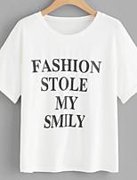abordables -Tee-shirt Femme, Lettre Imprimé Basique