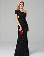 cheap -Sheath / Column One Shoulder Floor Length Charmeuse Formal Evening / Black Tie Gala Dress with Beading Pleats by TS Couture®