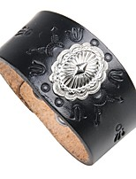 cheap -Men's Leather Cool 1pc Leather Bracelet - Vintage Rock Circle Black Brown Bracelet For Club Street