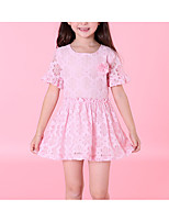 cheap -Girl's Daily Solid Colored Dress, Polyester Summer Short Sleeves Cute Green White Blushing Pink
