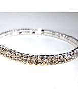 cheap -Women's Rhinestone Crystal Silver Plated Bangles - Metallic Circle Silver Bracelet For Wedding