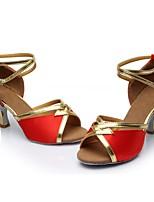 abordables -Mujer Zapatos de Baile Latino Satén / Cuero Patentado Sandalia / Tacones Alto Corte Tacón Cubano Personalizables Zapatos de baile Rojo