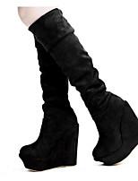 economico -Per donna Scarpe Pelle nubuck Autunno Inverno Stivali Stivaletti Zeppa Stivali oltre il ginocchio per Nero